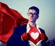 Obrazy na płótnie, fototapety, zdjęcia, fotoobrazy drukowane : Strong Superhero Businessman Heart Concepts