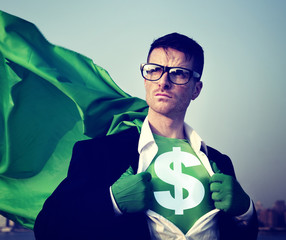 Superhero Businessman Currency Sign Concepts