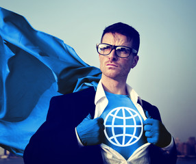 Strong Superhero Businessman Global Concepts