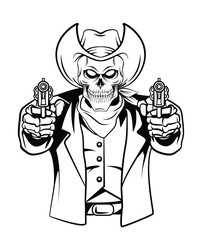 Cowboy Skull Vector Illustration