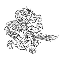 Dragon Tattoo Vector Illustration