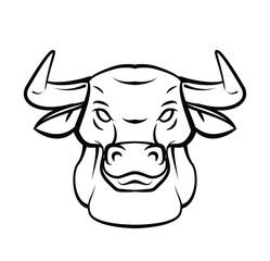 Bull Head Tattoo Vector Illustration