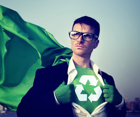 Superhero With Recycling Symbol on Outfit