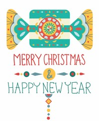 Christmas background with geometric ornament
