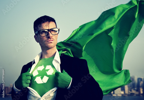 Superhero With Recycling Symbol on Outfit - 71976664