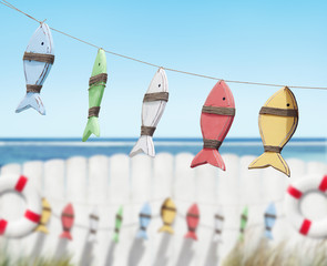 Fish Toys Hanging by the Beach