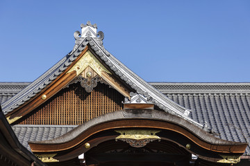 Roof of Japan shrine architecture details
