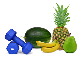 Blue fitness dumbbells with fruits isolated on white
