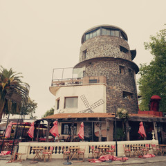 Lighthouse shaped restaurant in a port city