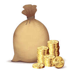 Money bag and gold coins