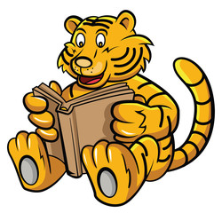 Baby Tiger Learning with Book