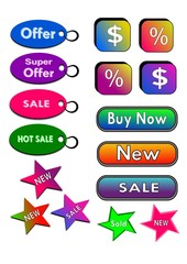 Íconos, botones, o etiquetas comerciales coloridas