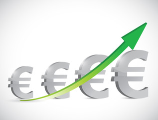 euro up business graph illustration