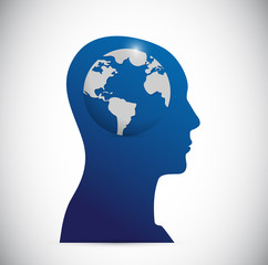 head and globe illustration design
