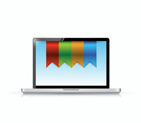 laptop and hanging banners illustration
