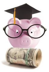 Piggy bank with graduation hat