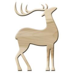 Dekoratives Rentier aus hellem Ahornholz, freigestellt