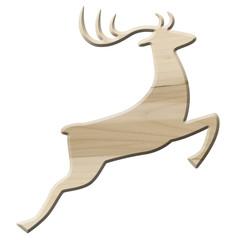 Springendes Rentier aus hellem Ahornholz, freigestellt