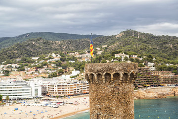 Tower with a Catalan flag. Europe.