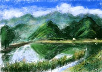 hand draw mountain lake