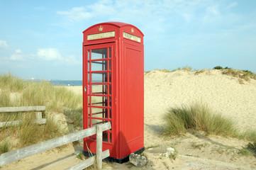 Phone booth on Studland Beach, Dorset