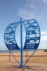 Coast path sign on Studland Beach, Dorset