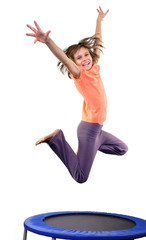 cute elementary girl jumping and dancing over white