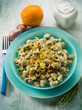 pasta with artichoke cream and orange peel