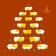 Sheep and Christmas tree