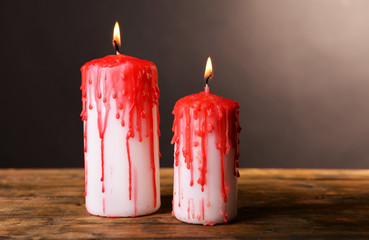 Bloody candles for Halloween holiday,