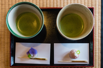 matcha tea served at Japanese tea ceremony