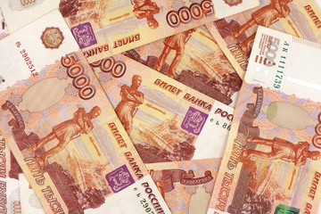 banknotes in denominations of 5,000 rubles abstract background