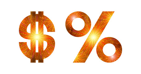 Set of signs, dollar and percent, firework