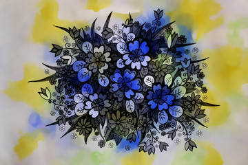 graphic drawing of beautiful flowers