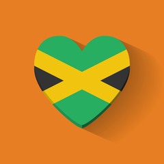Heart-shaped icon with national flag Jamaica. Flat design.