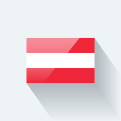 Glossy flag of Austria. Correct proportions and color scheme.