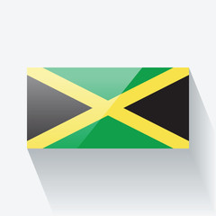 Glossy flag of Jamaica. Correct proportions and color scheme.