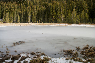 outdoor view of frozen lake in winter