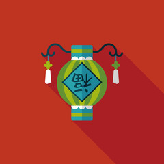 Chinese New Year flat icon with long shadow,eps10, Chinese festi