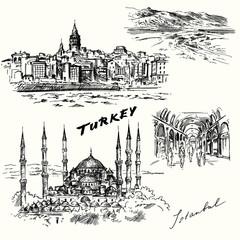 Turkey, Istanbul - hand drawn set