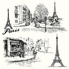 France, Paris - Eiffel tower - hand drawn set