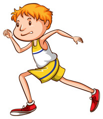 A simple drawing of a boy running