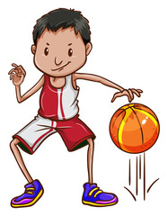 An energetic basketball player