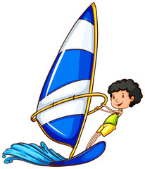 A young boy enjoying the watersport activity