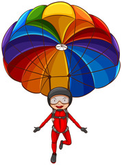 A simple sketch of a girl with a parachute