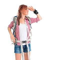 backpacker showing something over isolated white background