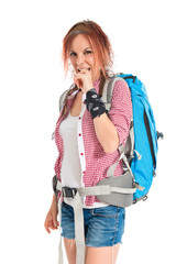 frustrated backpacker over isolated white background