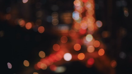 Orange and white defocused bokeh lights at night