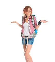 backpacker having doubts over isolated white background