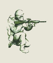 Abstract illustration of a soldier kneel down aiming a weapon